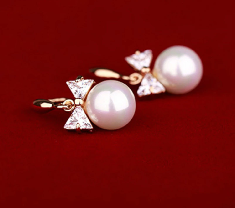 2018 high quality fashion  earrings  large pearl bow bride earrings jewelry