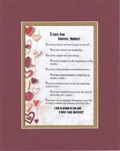 Touching and Heartfelt Poem for Mothers - I Love You Forever, Mother Poem on 11  - $15.79