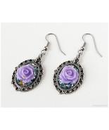 Purple Rose Earrings, Surgical Steel Hooks, Glitter, Resin - Burlesque, ... - $17.00