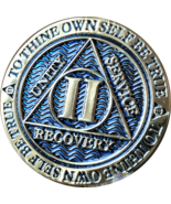 2 Year AA Medallion Reflex Dusty Blue Gold Plated Sobriety Chip Coin II Two - £7.32 GBP