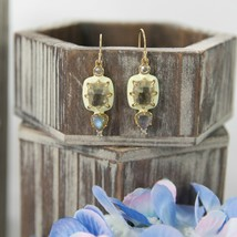 Alexis Bittar Lime Enamel Framed Crystal Labradorite Gold Drop Earrings NWT - $118.31