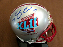 TEDY BRUSCHI XLII SUPERBOWL NEW ENGLAND PATRIOT SIGNED AUTO MINI HELMET ... - $148.49