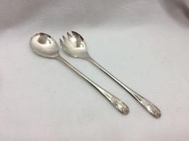 Vintage Italy Silverplate Salad Set Fork Spoon 25091 - $29.65