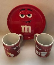 Lot of 3 M & M Red Candy Ceramic Coffee Mugs 8oz.(2) and (1) Red Plate 2... - $18.69