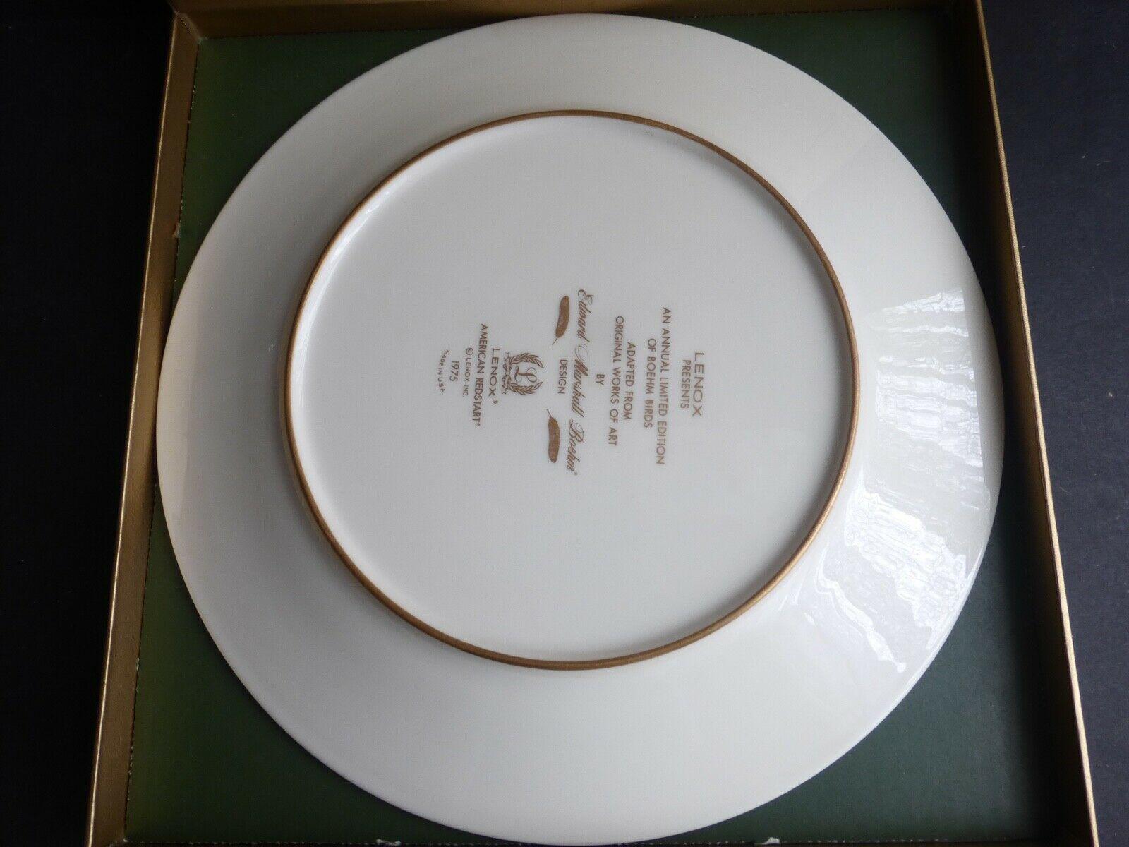 LENOX BOEHM BIRDS American Redstart Porcelain Plate 24-karat Gold