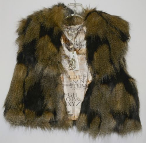 Riflessi WFV11 Faux Fur Cropped Vest Color Brown Size Large Safety Pin Brooch