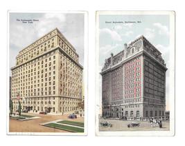 Ambasador Hotel New York NY Hotel Belvedere Baltimore MD 2 Vintage Postcards - $4.99