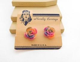 Vintage Rainbow Crochet Rose Flower Shabby Chic Style Screw Back Earring... - $8.99