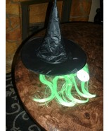 Black Halloween Witch Hat Girls - Womens With GREEN HAIR WIG Costume Acc... - $6.92