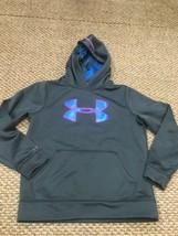 Under Armour Storm Gray Blue Pink Hoodie Sweatshirt Youth Medium Good Co... - $14.84