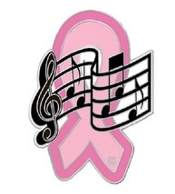 Breast Cancer Lapel Pin Pink Ribbon Music Notes Musician Band Awareness New - $13.69