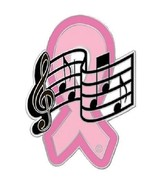 Breast Cancer Lapel Pin Pink Ribbon Music Notes Musician Band Awareness New - $13.55