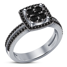 Black Diamond Womens Engagement Ring 14k White Gold Finish 925 Sterling ... - £57.35 GBP