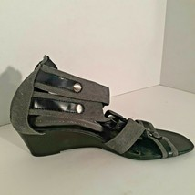 Franco Sarto Womens  Grey Size 9 Sandal Wedge Heel Canvas Ankle Straps - $17.81