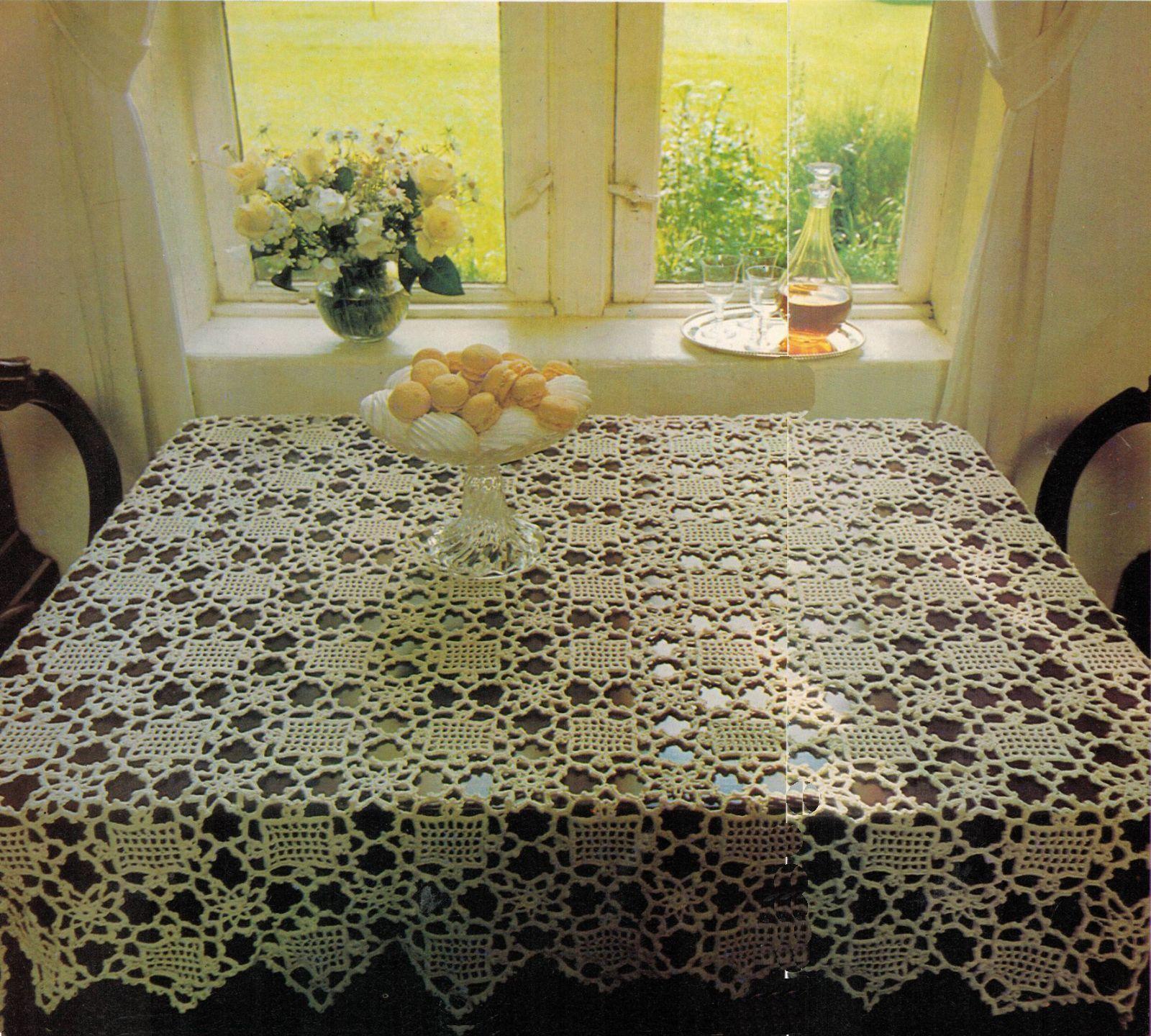 4X Wagon Wheel Lace Rosettes Leaf Flower Tablecloth Crochet Pattern image 6