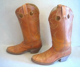 Cowboy Boots Leather Tan 9 D  Wrinkle Stitching Pull Holes Riding Tapere... - $33.68