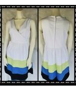Maurices Dress 9/10 Womens Sleeveless V Neck White Striped Knee Length C... - $28.81
