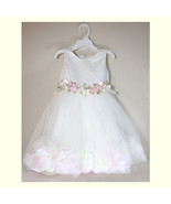 NEW White Pink Flower Petal Beautiful Summer Girl Tulle Ball Gown Dress ... - $34.99