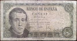 Spain banknote - 5 cinco pesetas - year 1951 - Father Jaime Balmes-post-... - $6.04