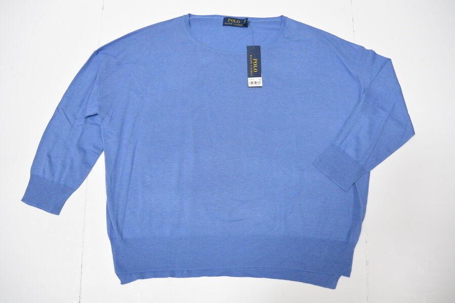 Polo Ralph Lauren Encolure en U Pull L BAR Harbor Bleu Solide Coton Ample Nwt