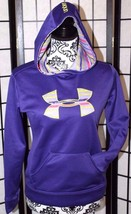 Under Armour Youth Large Ylg Loose Purple Hoodie Large Logo Front Pouch Pocket - $28.05