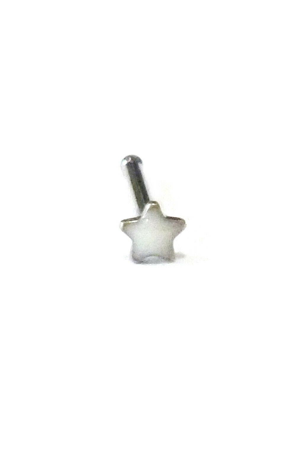"Nose Bone Ring w/Star White 2.5mm Head 20 Gauge 1/4"" Steel Body Jewelry - $6.49"