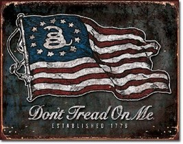 Don't Tread On Me Military Warning Flag Garage Shop Bar Man Cave Wall Decor Sign - $15.99