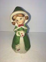 Vintage Jasco Bisque Porcelain Merri Bell Girl With Kitten Christmas Bell 1978 - $3.75