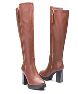 85B026 Elegant knee high kneight boots, zipper side, Size 4-9.5, brown - $88.80