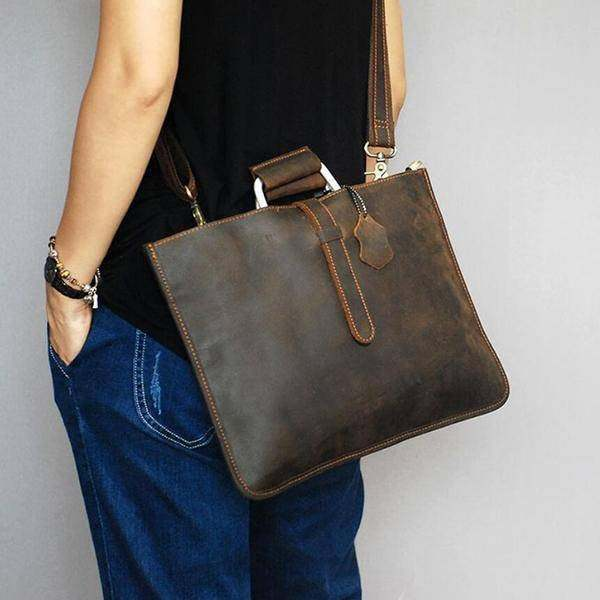 On Sale, Handmade Men Shoulder Bag,Horse Leather Men Tote, Messenger Bag image 5