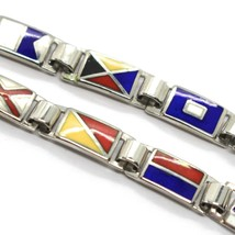 Bracelet Silver 925, Flags Nautical Glazed Tiles, Long 20 cm, Thickness 5 MM image 2