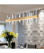 Modern Rectangle Gold Chandelier Crystal Light Kitchen Island Indoor Lig... - $499.99+