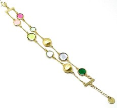 925 STERLING SILVER YELLOW BRACELET SATIN NUGGETS, DOUBLE WIRE, GLASS PASTE image 2