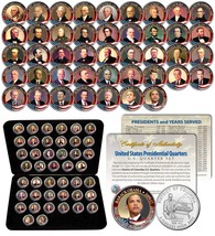 ALL United States PRESIDENTS Colorized 2009 DC Quarters 44 Coins Set Box... - $126.21