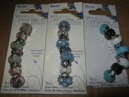 Metal Lined Glass Bead Lot 3 Pink Turquoise Blue 27 Lg Hole Spacers Mix ... - $9.40