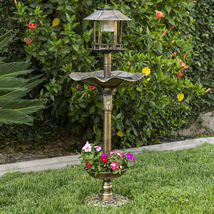 Outdoor Bronze Solar LED Light Bird Bath Water Bowl Garden Flower Plante... - $67.09