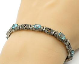 925 Sterling Silver - Vintage Blue Topaz & Marcasite Chain Bracelet - B6928 - $70.83