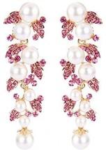 EVER FAITH Women's Austrian Crystal Cream Simulated Pearl Bridal Leaf D... - $36.98