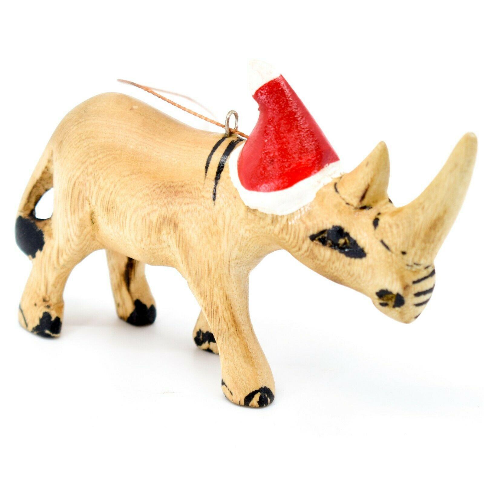Hand Carved & Painted Jacaranda Wood Santa Hat Rhinoceros Christmas Ornament