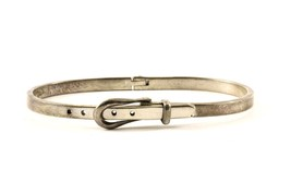 Vintage Thin Belt Buckle Design Bangle Bracelet 925 Sterling BR 669 - $34.99