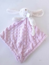 Blankets and & Beyond Pink White Bunny Baby Blanket Minky dot Security ... - $32.73