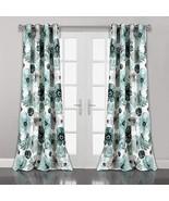 Lush Decor Blue Leah Floral Room Darkening Window Panel Curtain Set for ... - $50.37