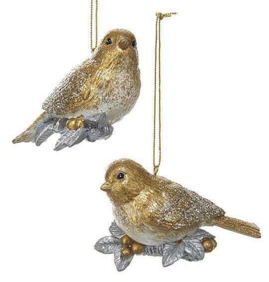 Primary image for KURT ADLER SET OF 2 GOLD & SILVER GLITTERED CHICKADEE CHRISTMAS ORNAMENTS