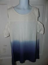 Justice Off White/Blue Tye Dye Shirt w/ Cutout Shoulders Size 12 Girl's EUC - $20.47