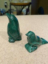 Set of 2 Natural Green Malachite Penguin Crystal Carving Gemstone Gift Set - $19.34