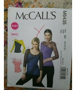 UNCUT McCalls M6435 Sewing Pattern Misses Easy Knits Tops Shirts 10 14 1... - $8.59