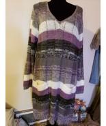 T46 Ultra Flirt Plus Woman's 3X Purple Gray White Long Loose Knit Sweater - $7.84