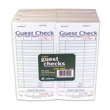Adams 1-Part Guest Check with Stub - 50 Checks/book - 20 pk. - $18.61