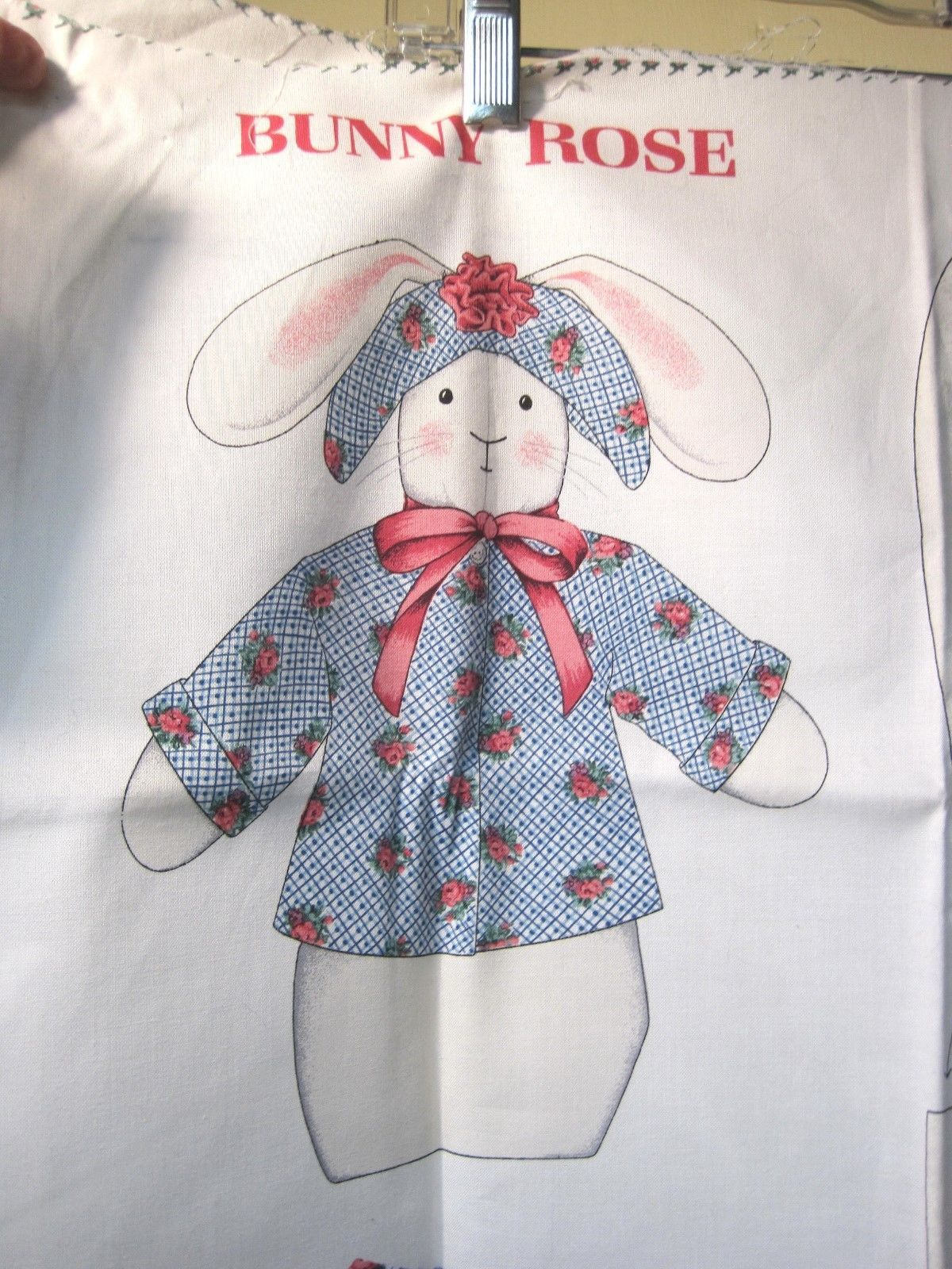 Primary image for Older Cranston VIP Bunny Rose Doll Printed Fabric Sewing Kit Panel Excellent Con