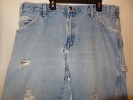 Jeans Blue Size 36 x 32 Measured 36 x 31 Ripped Worn Dickies Carpenter Damaged - $18.89